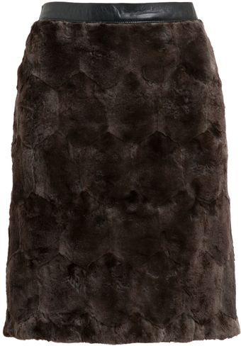Osman Yousefzada Rabbit Fur Pencil Skirt - Lyst