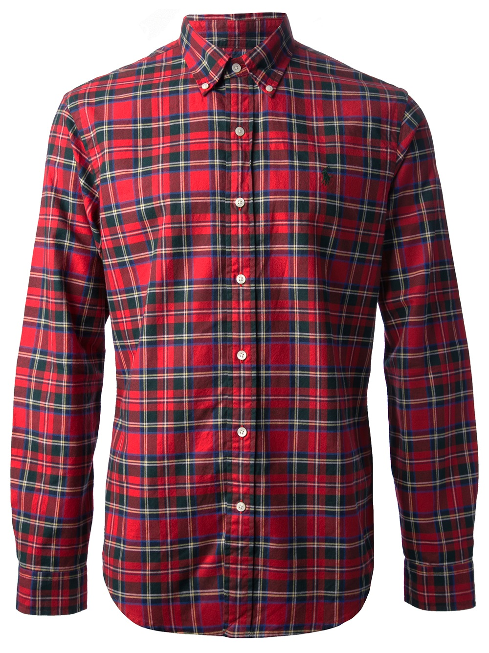 Polo ralph lauren plaid button down shirt in red for men for Red and white plaid shirt mens