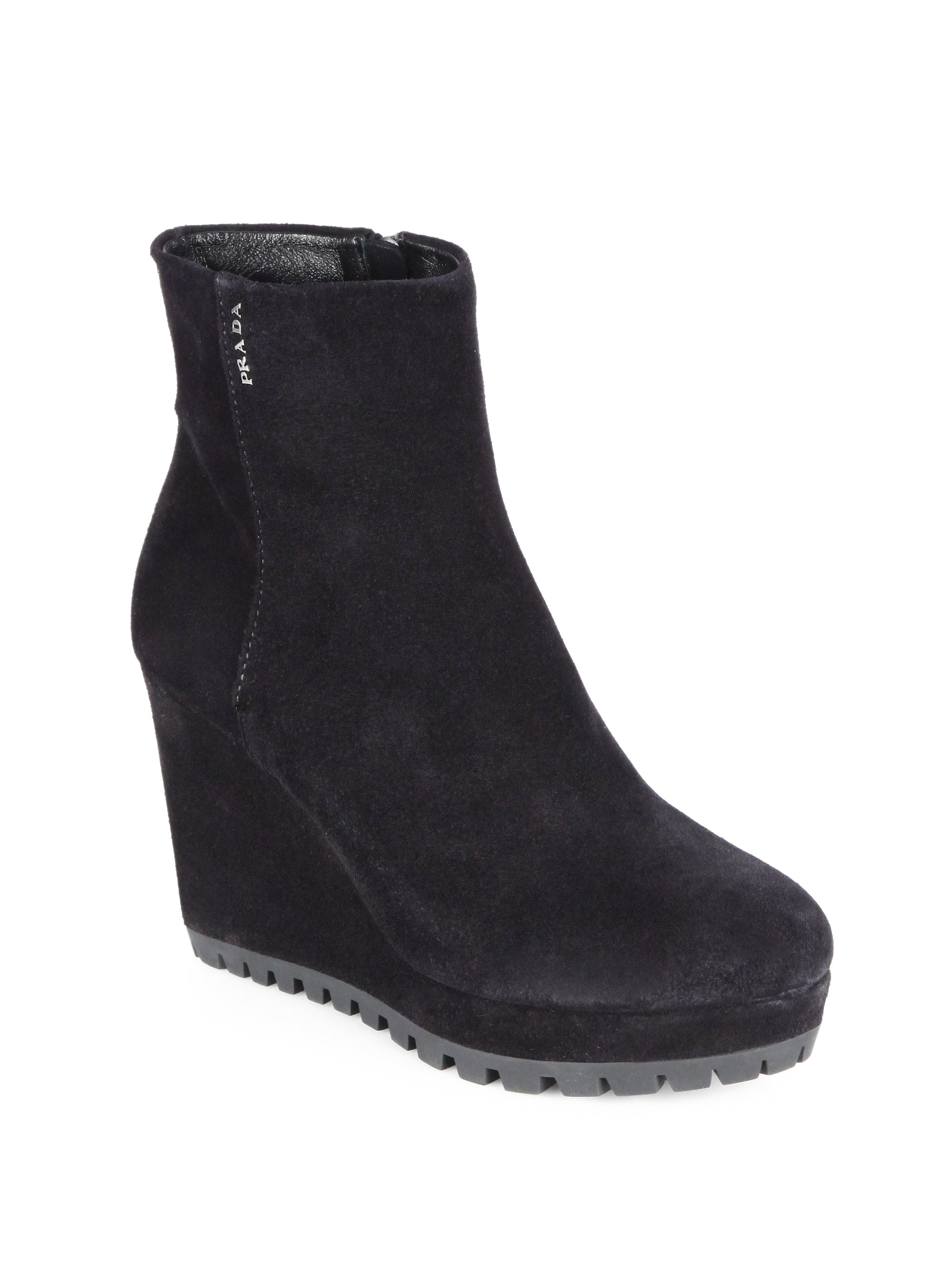 Prada Suede Wedge Ankle Boots in Black | Lyst