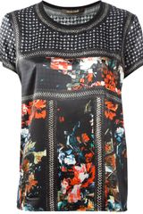 Roberto Cavalli Flower Crystal and Chain Printed Top - Lyst