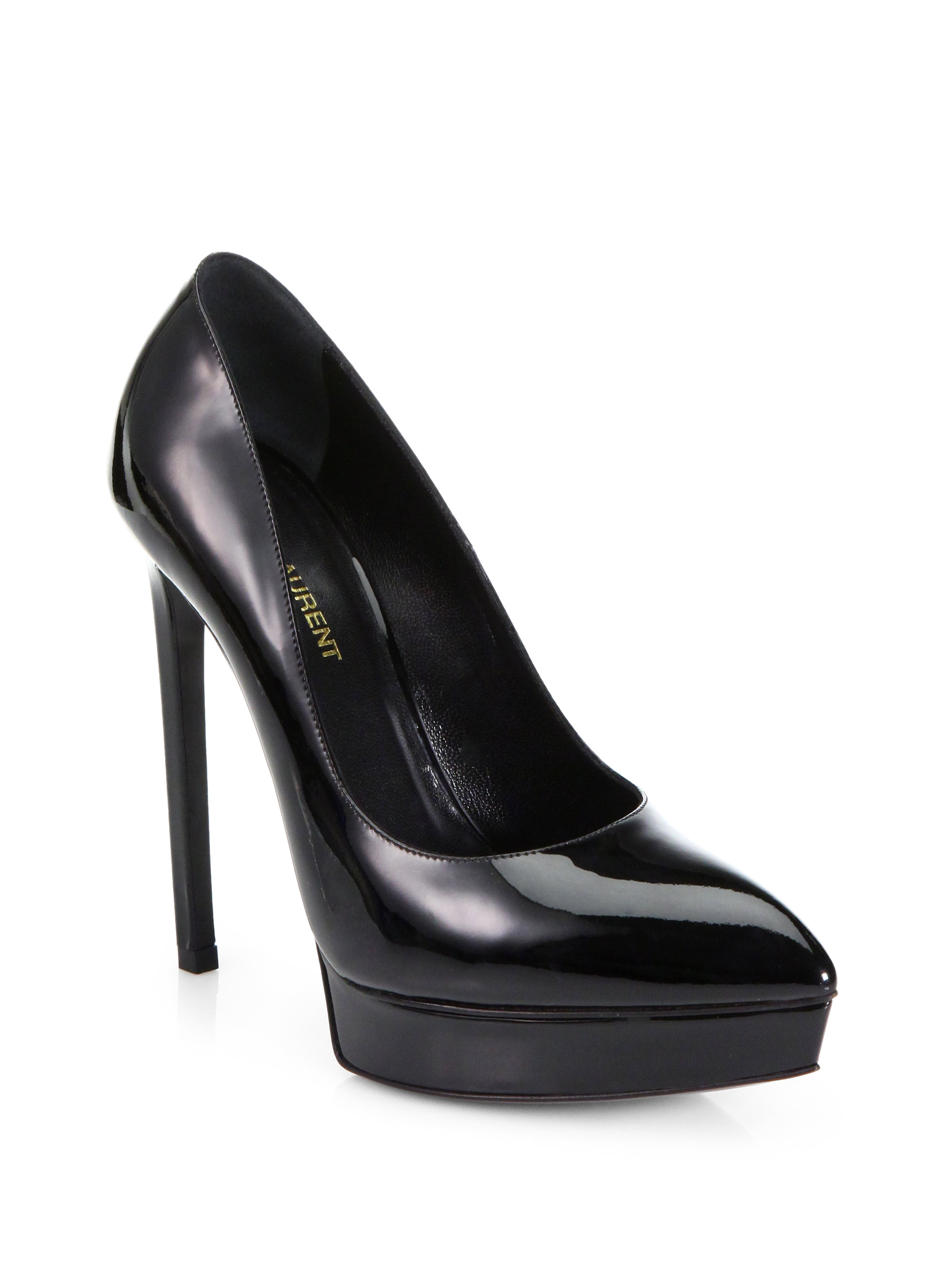 0a08a339642 Lyst - Saint Laurent Janis Patent Leather Platform Pumps in Black