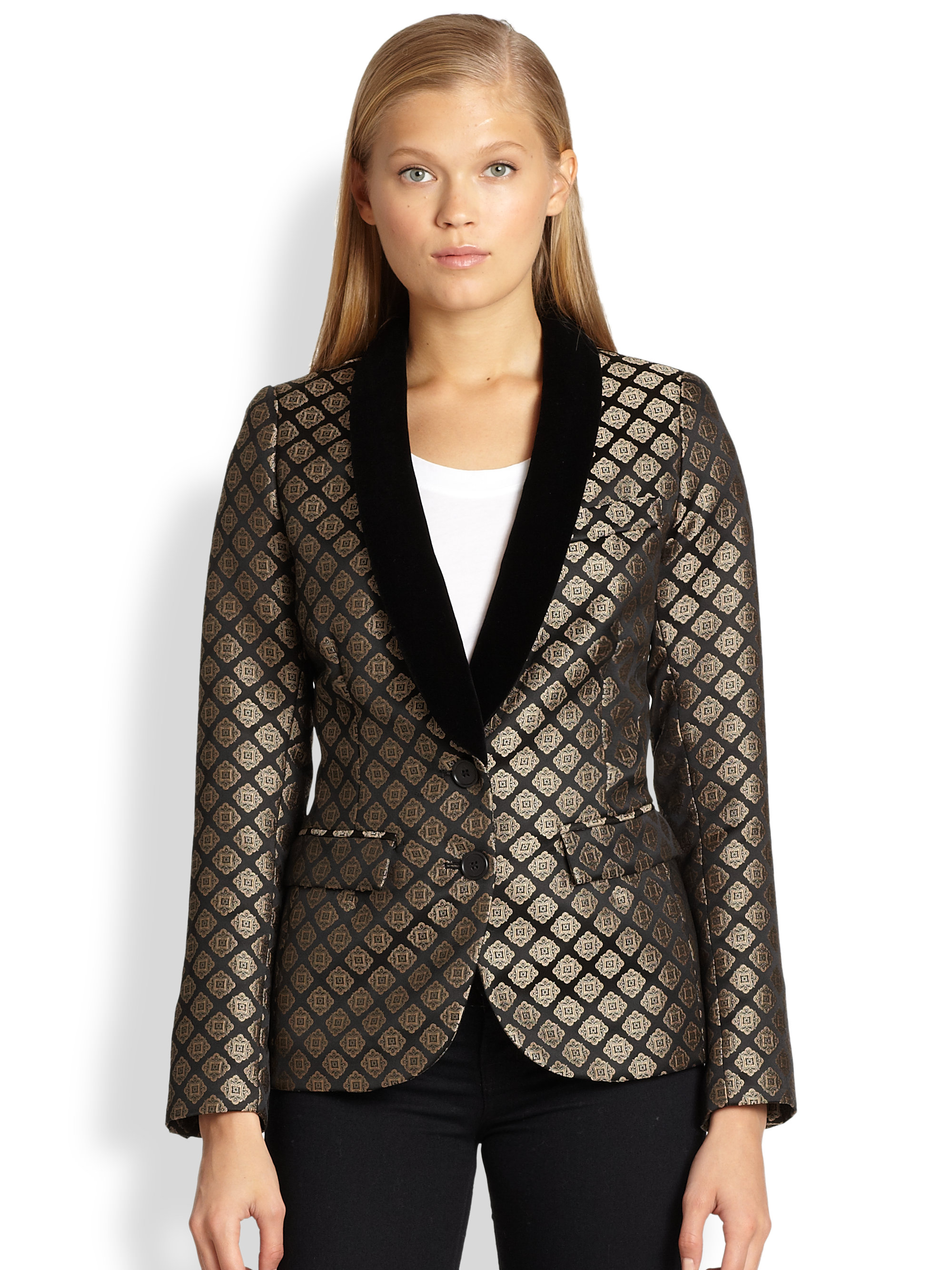 Smythe Velvettrimmed Metallic Jacquard Smoking Jacket In