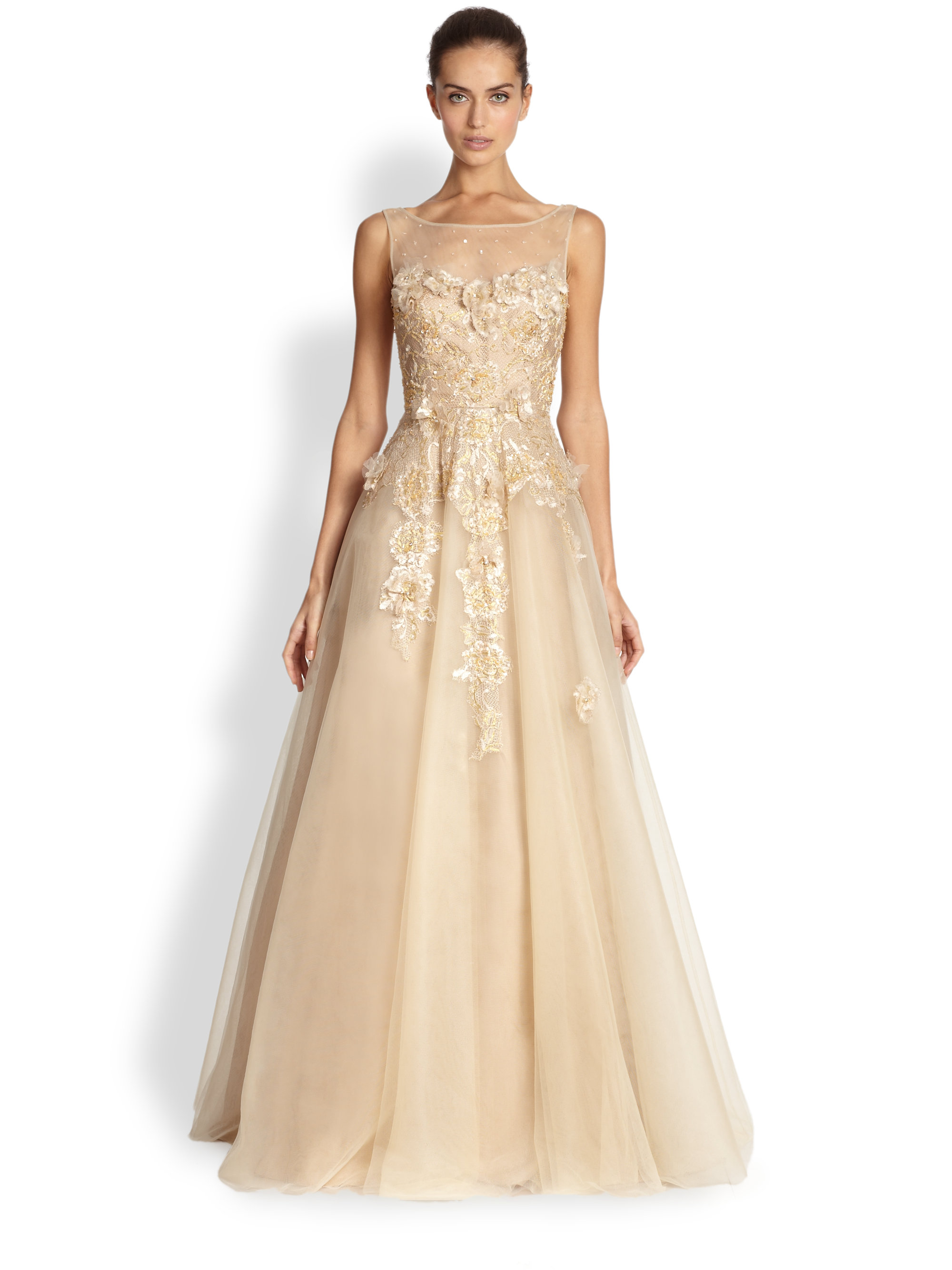 Teri jon Illusion Neck Tulle Gown in Metallic | Lyst