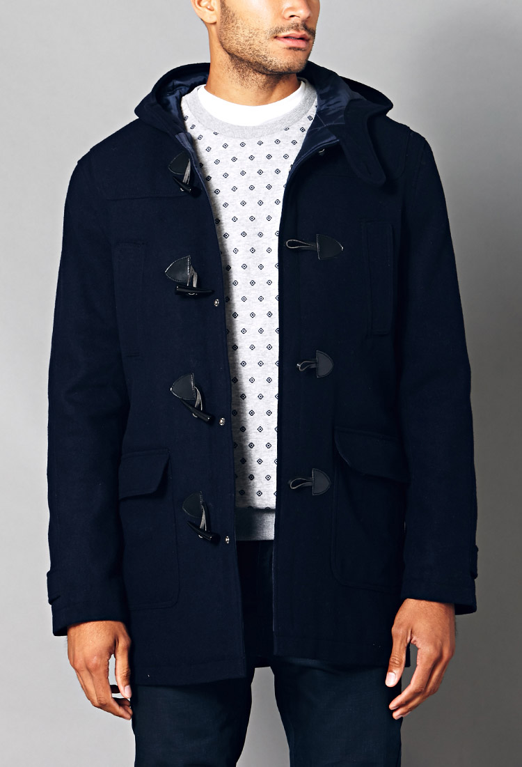 Forever 21 Hooded Toggle Coat in Blue for Men | Lyst