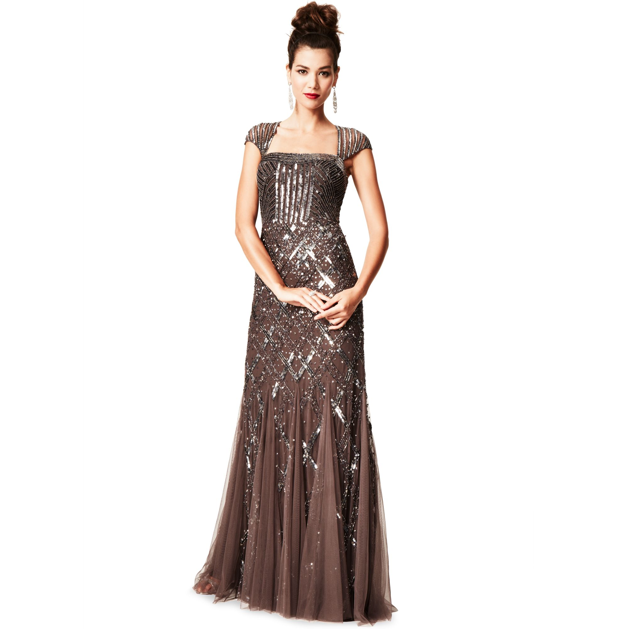 Lyst - Adrianna Papell Cap Sleeve Sequined Beaded Gown Dress in Purple
