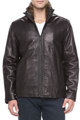 Andrew Marc Motorcycle Leather Jacket Black - Lyst