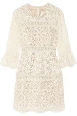 Anna Sui Embroidered Organza Mini Dress - Lyst