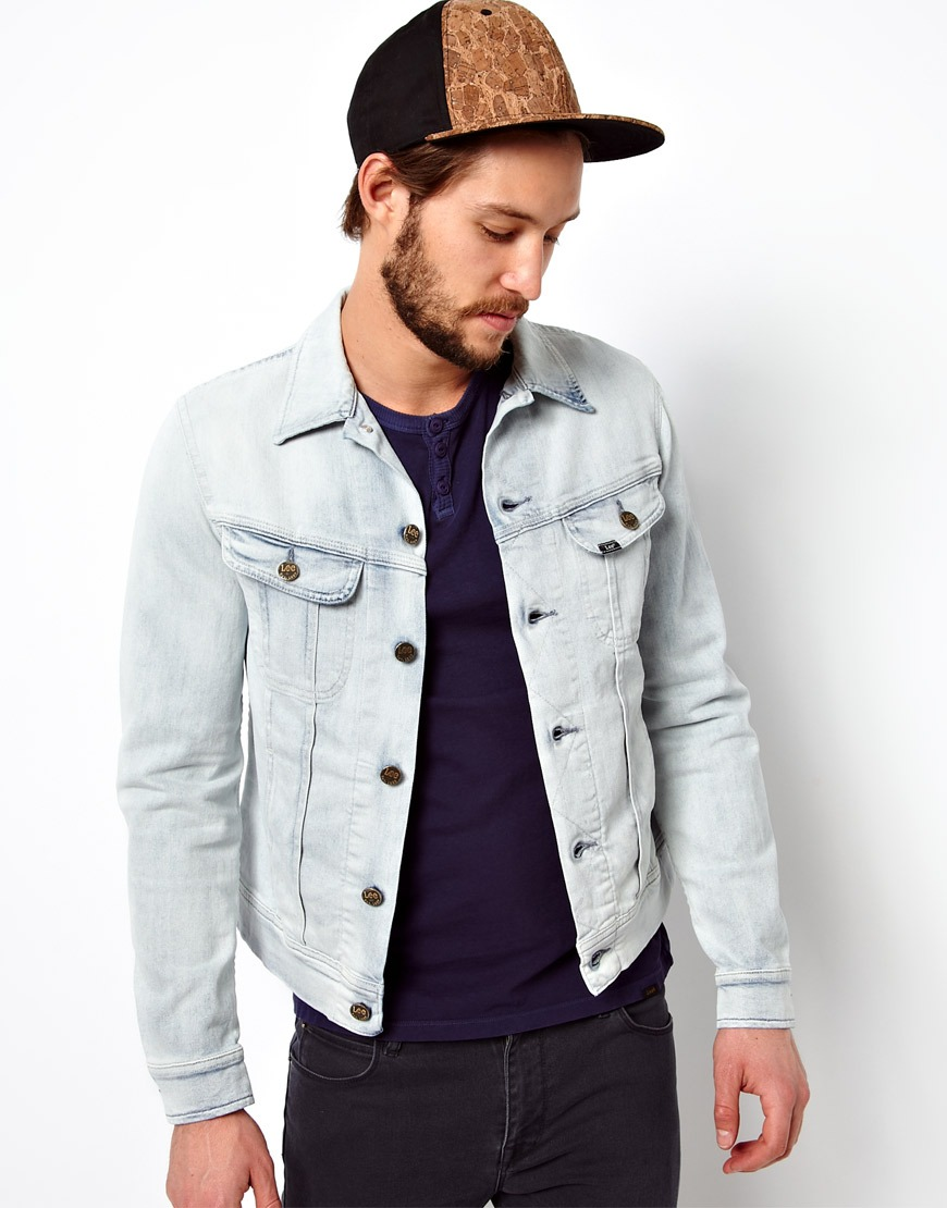 Fred perry Lee Denim Jacket Rider Slim Fit Ice Blue in Blue for