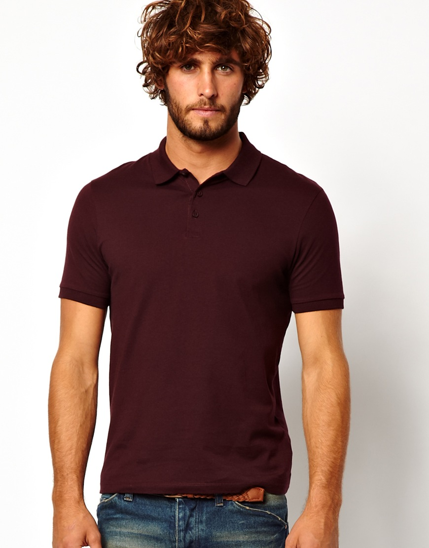 Lyst asos polo shirt in burgundy in purple for men Man in polo shirt