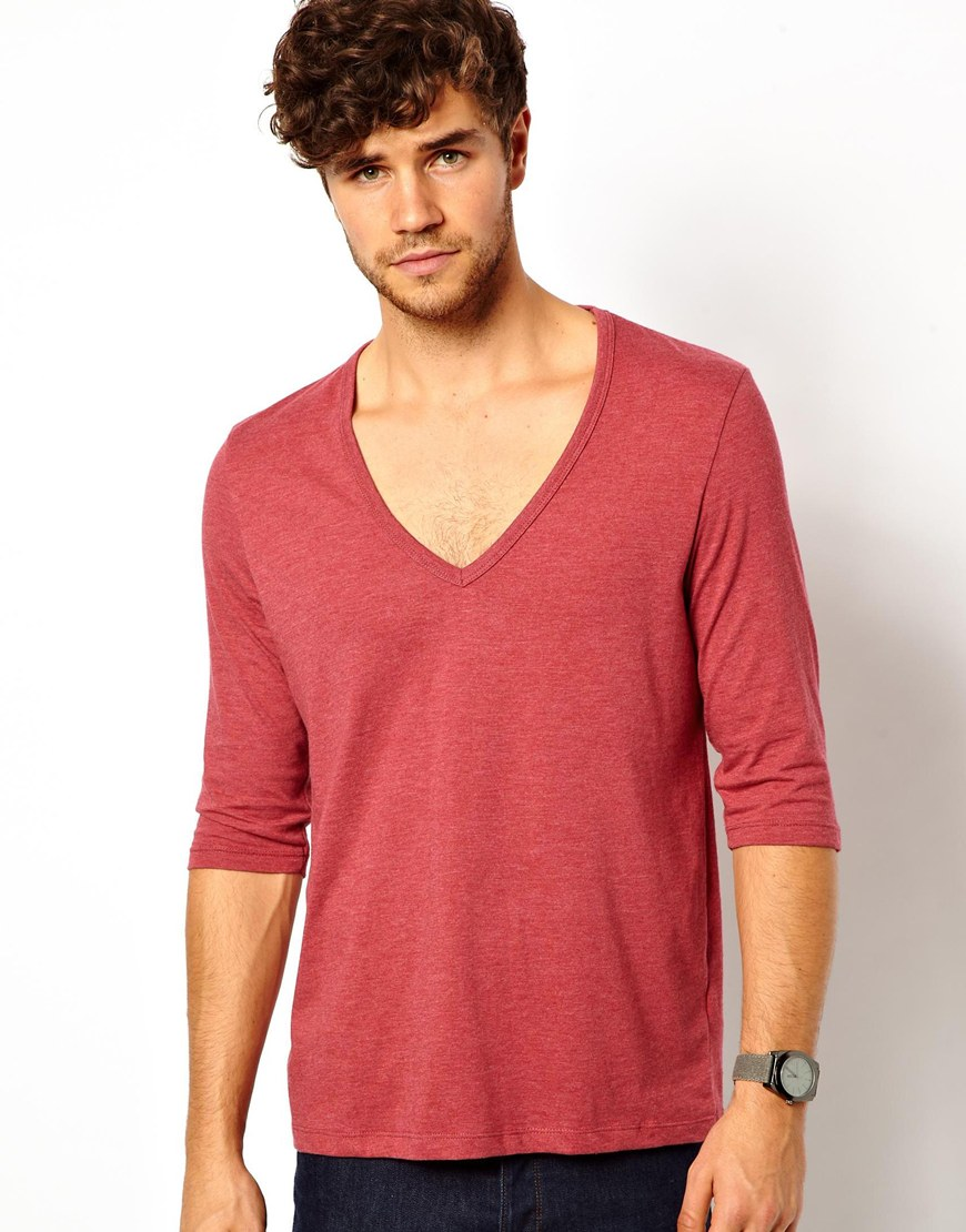 Asos 3 4 sleeve t shirt with deep v neck in red for men lyst Deep u neck t shirt