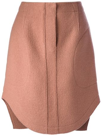Carven Curved Hem Skirt - Lyst
