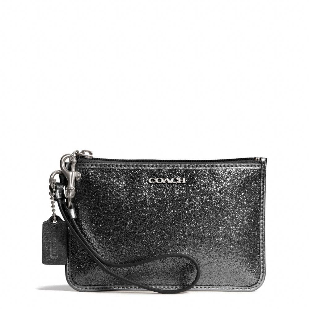 Coach Legacy Small Wristlet in Glitter Fabric in Black (SILVER/BLACK)   Lyst