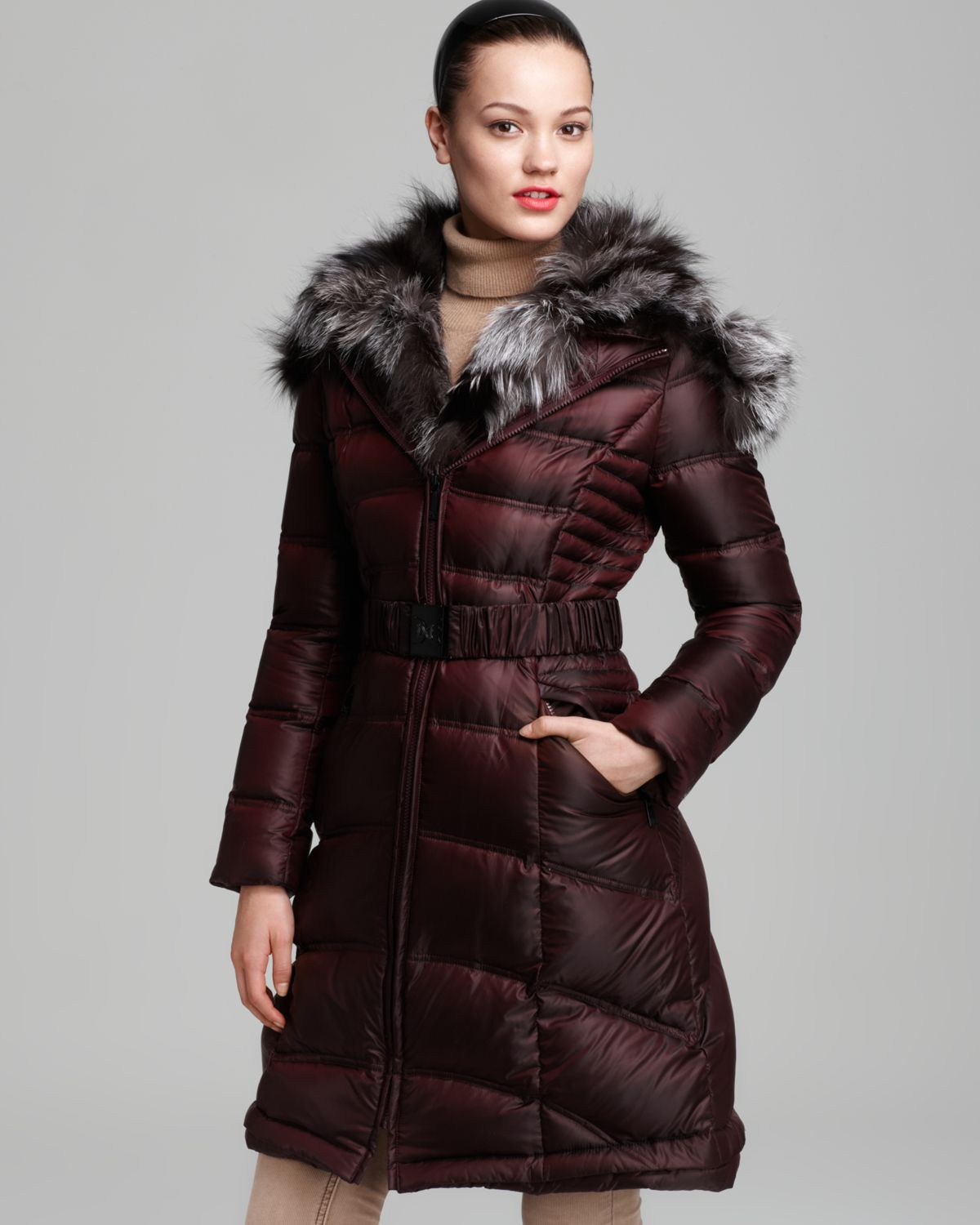 Dawn levy Down Coat Belted Fur Collar Hood in Red | Lyst
