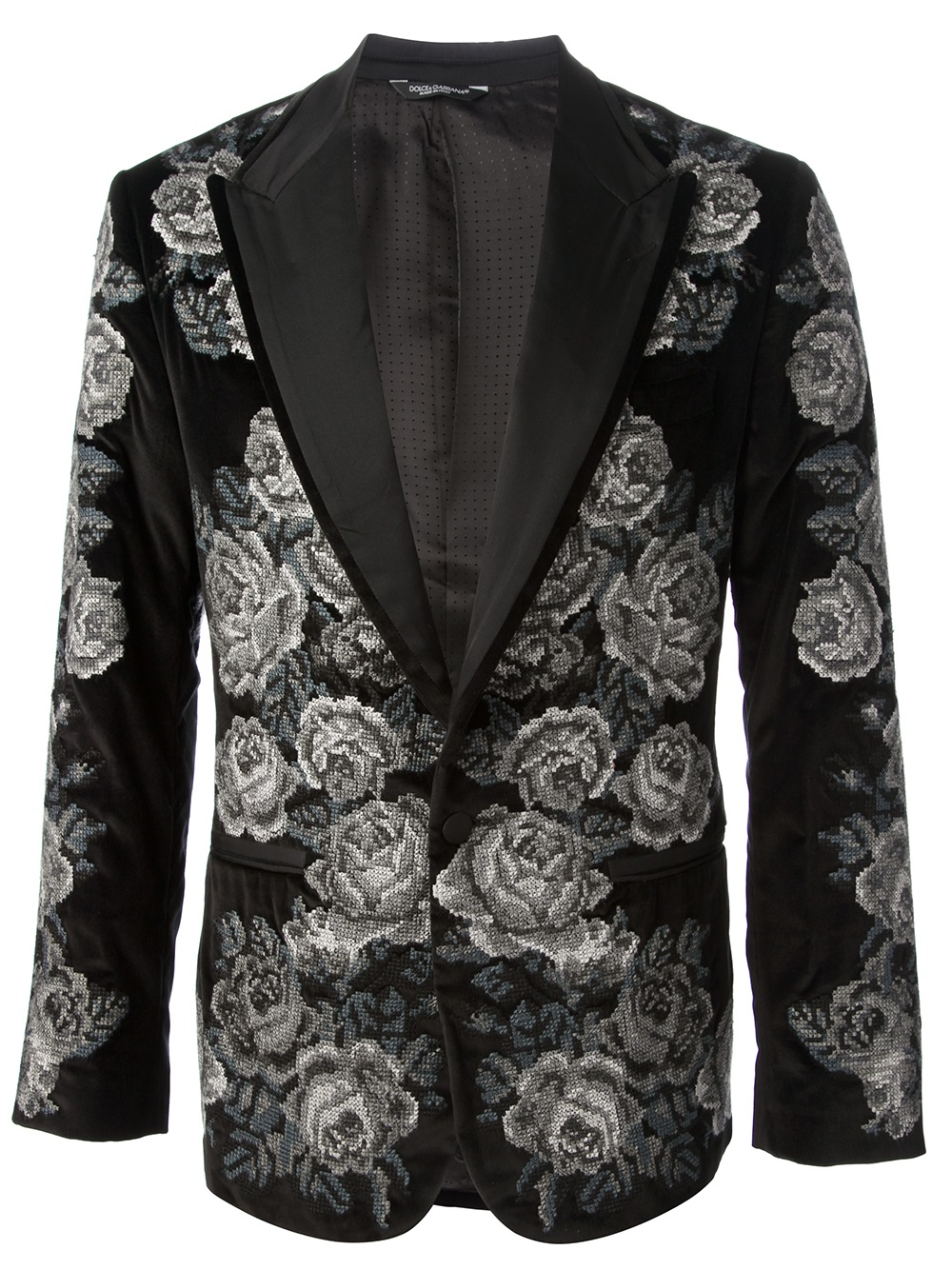 check out 681ec 5b01d Lyst - Dolce   Gabbana Floral Tapestry Blazer in Black for Men