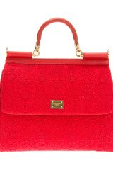Dolce & Gabbana Cotton Calf Leather and Wool Blend Logo Plaque Tote - Lyst
