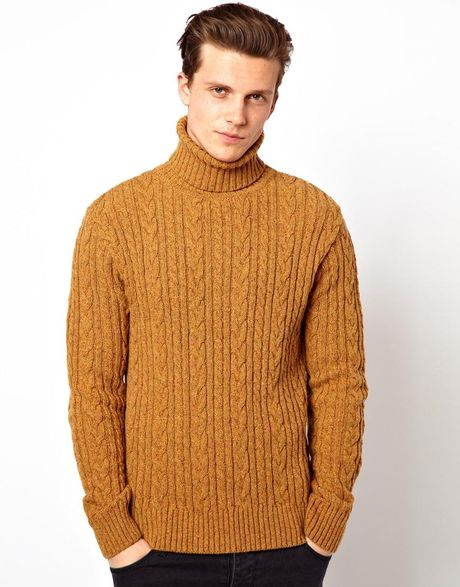 Knitting Pattern Roll Neck Jumper : Edwin Roll Neck Sweater Batallion Cable Knit in Orange for Men (Mustardyellow...