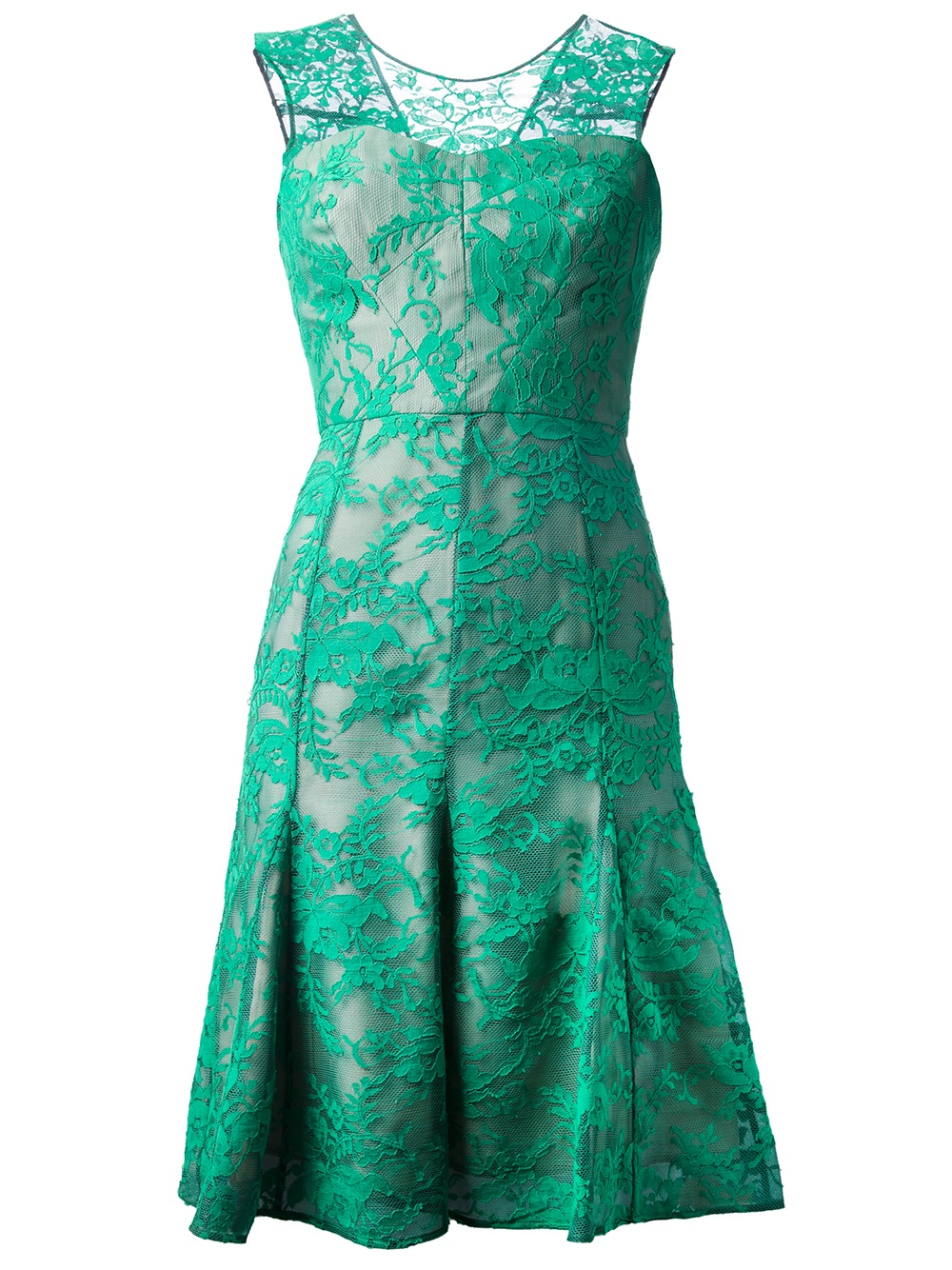 Erdem Floral Lace Flared Dress In Green Lyst