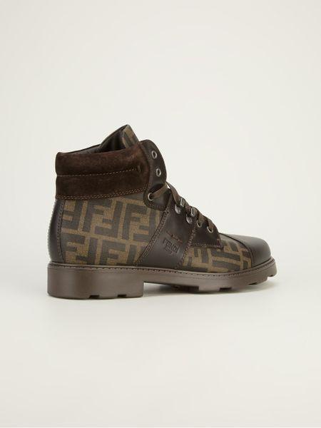 Fendi Monogram Print Boot In Brown For Men Lyst