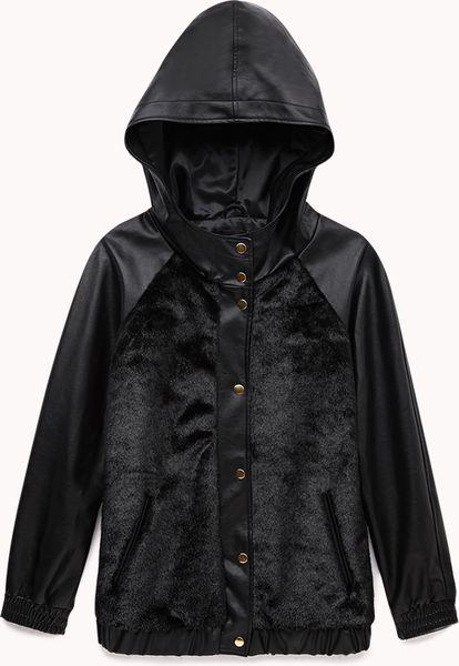 Forever 21 Faux Fur Hooded Varsity Jacket In Black Lyst