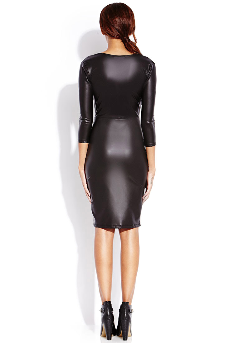 Forever 21 Sleek Faux Leather Midi Dress In Black Lyst