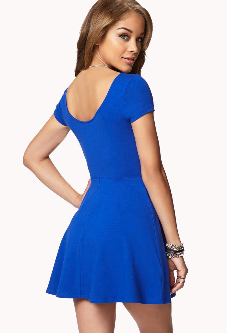 Forever 21 Short Sleeve Skater Dress in Blue | Lyst