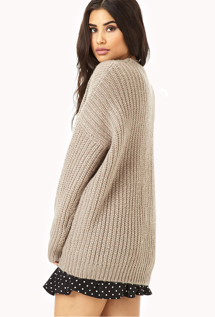 Forever 21 Mixed Knit Boyfriend Sweater in Brown | Lyst
