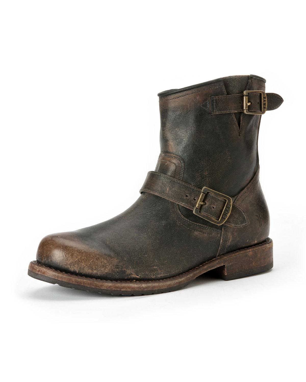 frye wayde leather engineer boot brown in brown
