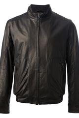 Hugo Boss Black Leather Bomber Jacket - Lyst