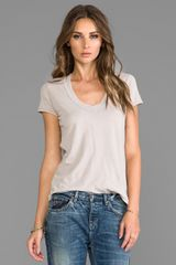 James Perse Relaxed Casual V Neck in Beige - Lyst
