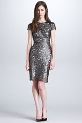 L'Agence Metallic Lace Shortsleeve Dress - Lyst