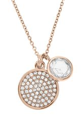 "Michael Kors Pave Disc and Clear Stone Necklace 16"" - Lyst"