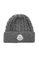 Moncler Cable Knit Beanie Hat - Lyst