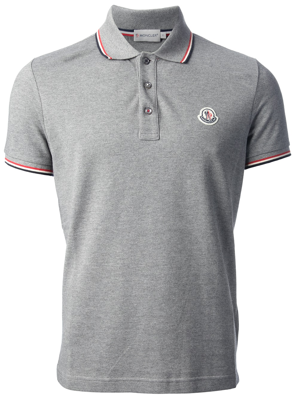 moncler short sleeve polo shirt in gray for men lyst. Black Bedroom Furniture Sets. Home Design Ideas