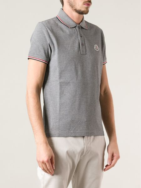 Moncler Short Sleeve Polo Shirt In Gray For Men Grey Lyst