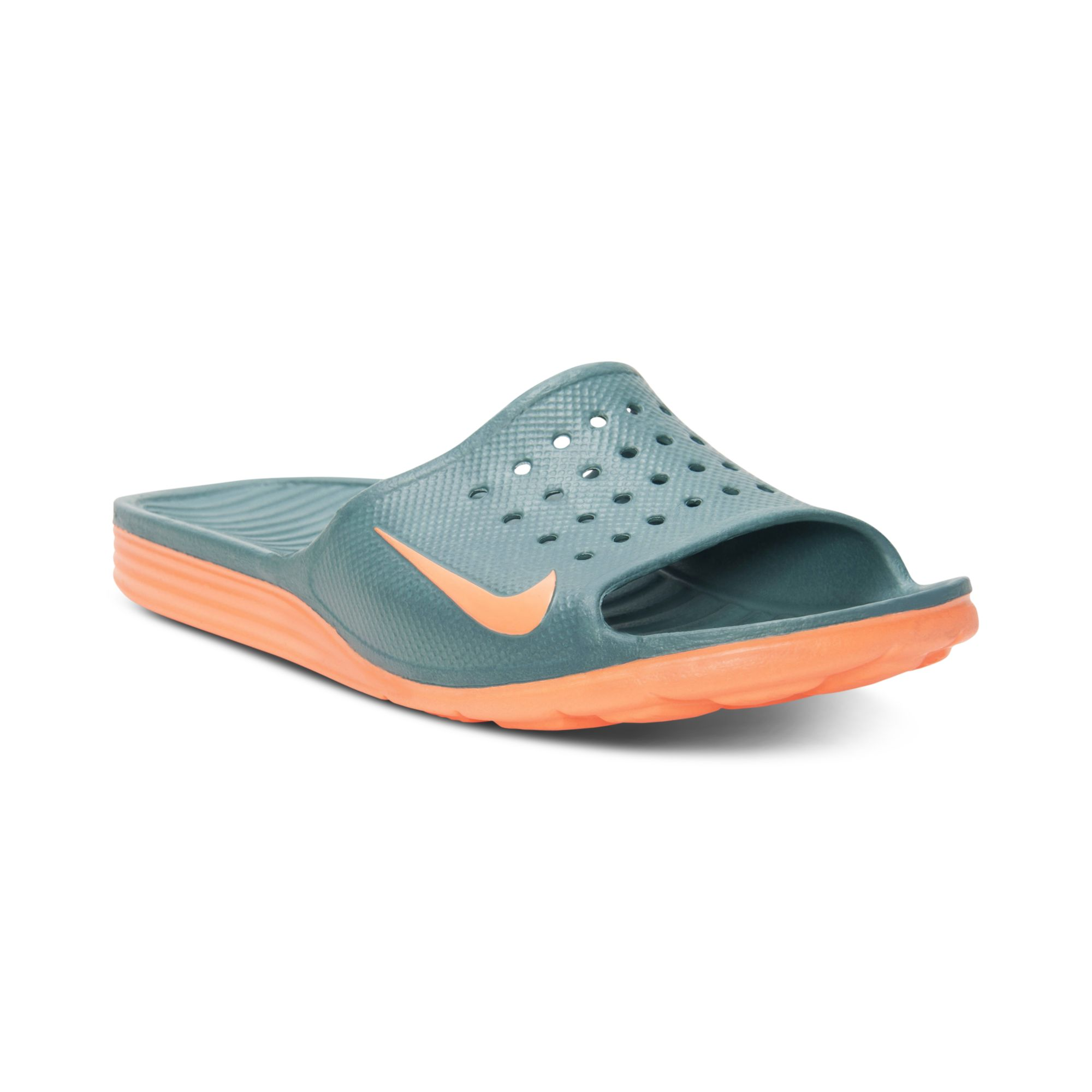 e8a4a418f200 ... where to buy lyst nike benassi solarsoft slide sandals in green for men  3c616 fcbbd