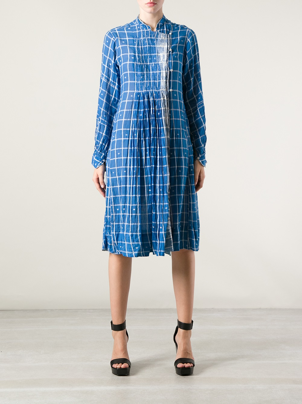P Ro Checked Shirt Dress In Blue Lyst