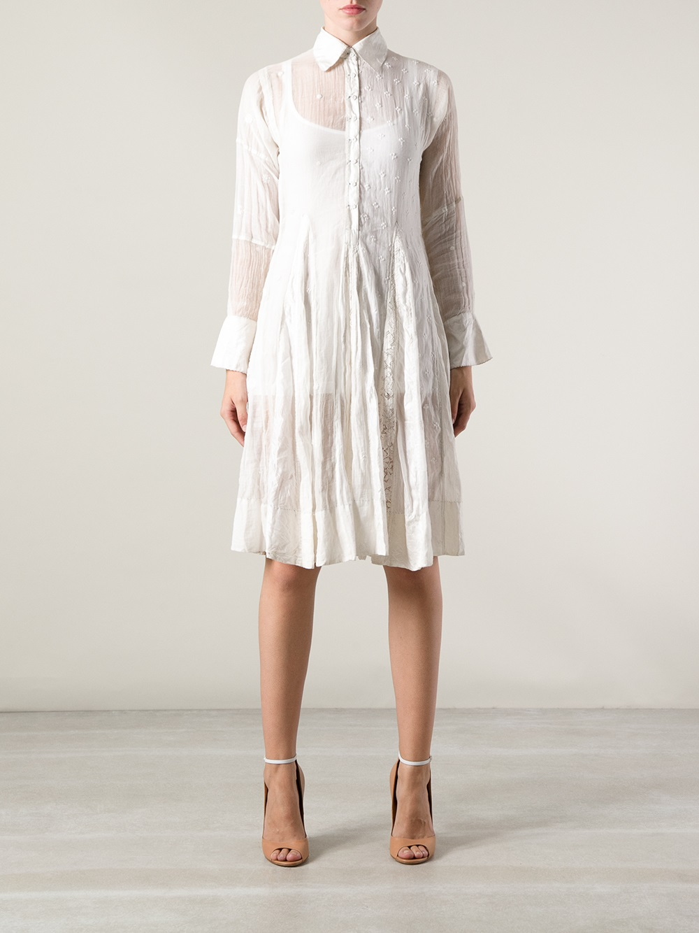 Péro Crochet Blouse Dress in White | Lyst