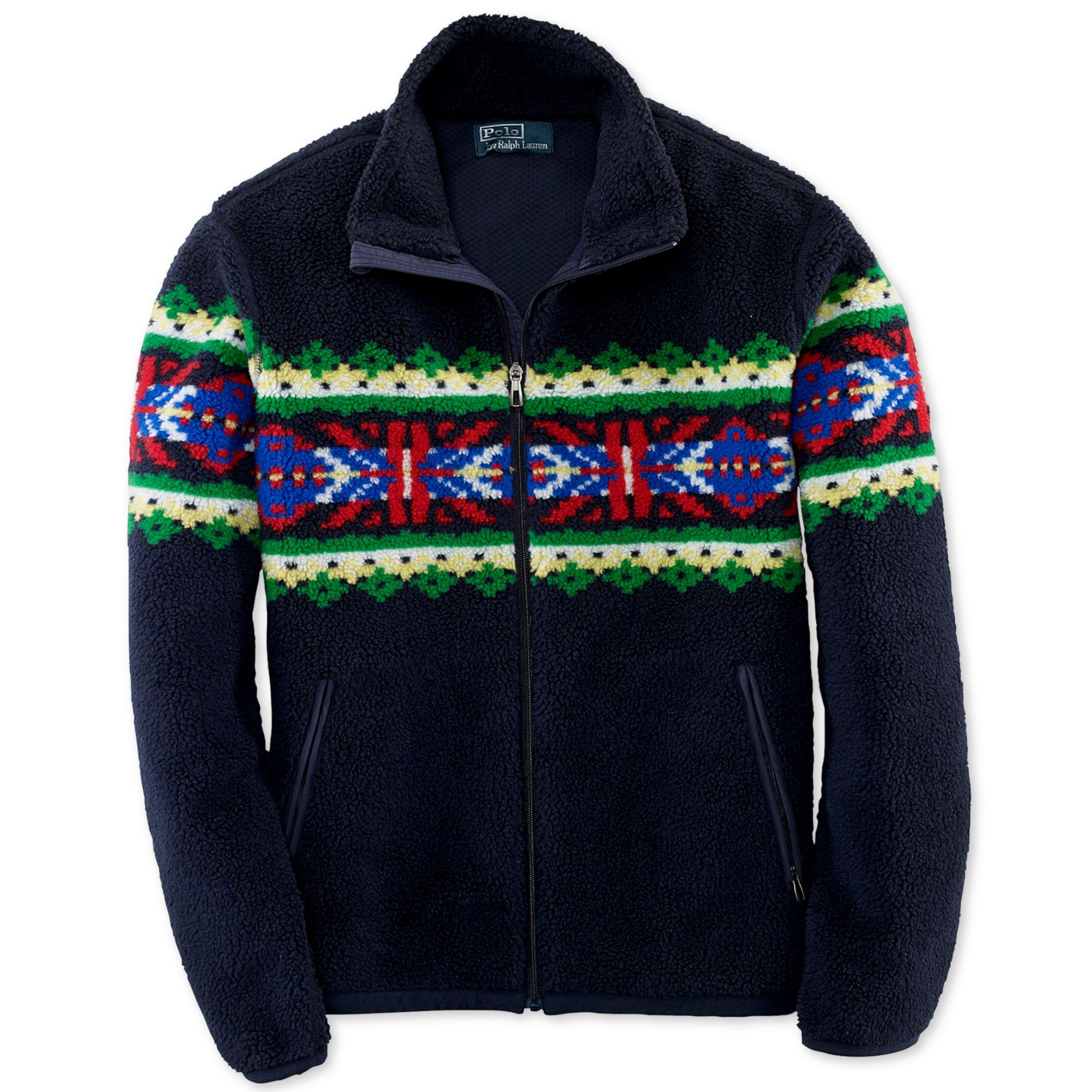 Ralph lauren Mock Neck Zipfront Patterned Fleece Jacket in Blue ...
