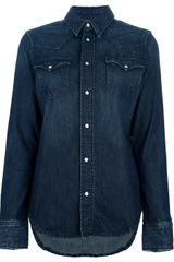 Ralph Lauren Blue Label Super Skinny Western Denim Shirt - Lyst