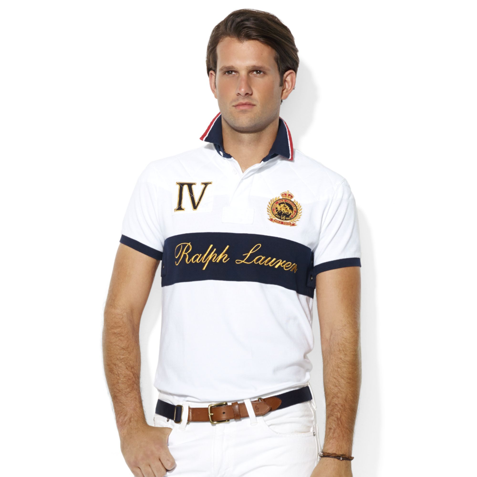 9208dbf7 ... polo rugby in white for men 0336b 3c6ae; spain lyst ralph lauren custom  fit shortsleeve quiltedyoke mesh snow fa184 26312