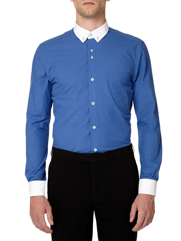 Remus Uomo Slim Fit White Button Down Collar In Blue For
