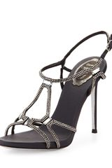 Rene Caovilla Highheel Slingback Sandal with Crystals Blacksilver - Lyst
