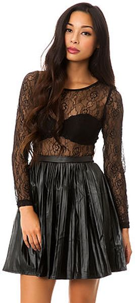 Reverse The Lace and Leather Dress - Lyst