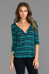 Splendid Stockholm Stripe Henley Tee in Blue - Lyst