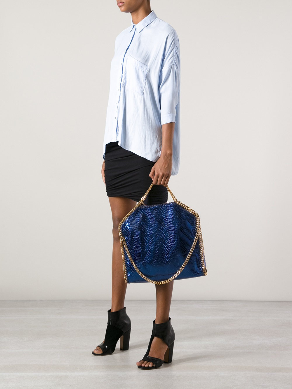 stella mccartney falabella tote bag in blue lyst