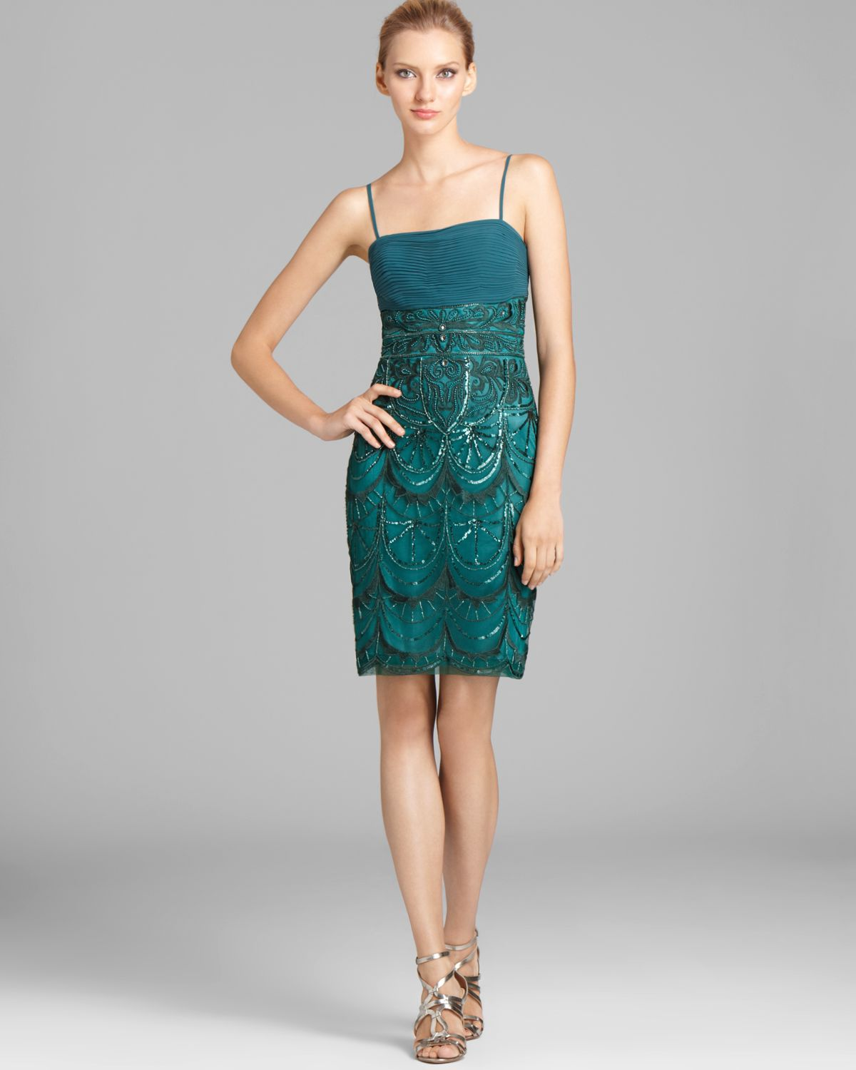 Sue Wong Spaghetti Strap Sequin Dress In Green