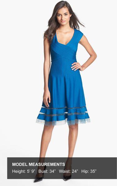 Tadashi Shoji Vneck Tulle Trim Fit Flare Dress In Blue