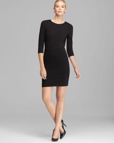 Three Dots Three Quarter Sleeve Sheath Dress In Black
