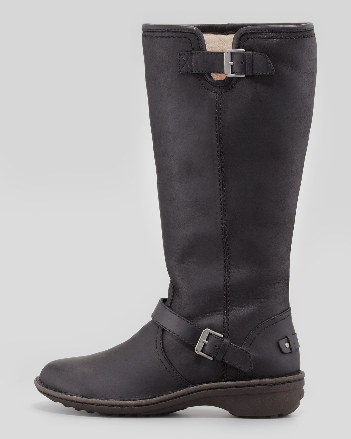 Ugg Tupelo Tall Leather Boot Black in Black | Lyst