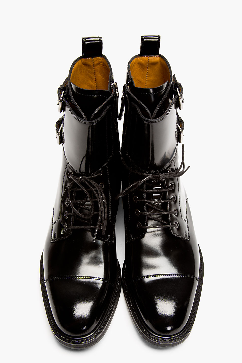 Lyst Valentino Black Patent Leather Buckled Stud Boots